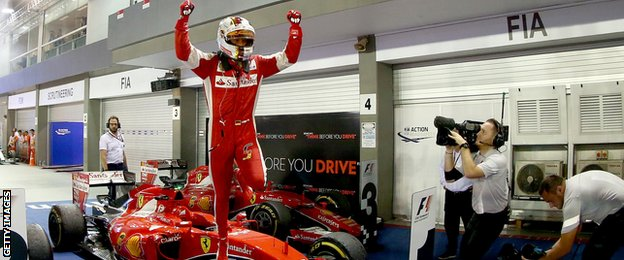 FORMULA 1: Sebastian Vettel wins in Singapore as Lewis Hamilton retires
