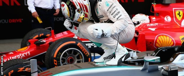 FORMULA 1: Lewis Hamilton overtakes Nico Rosberg to win in Japan, Sept 27, 2015